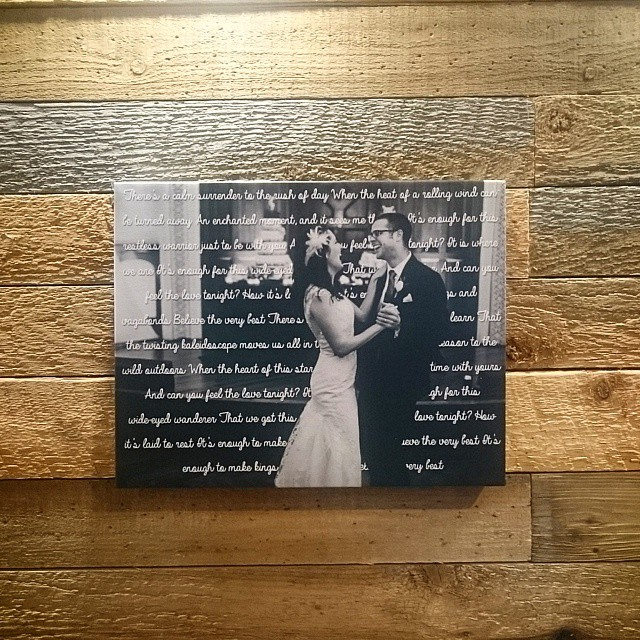 "11"" X 14"" Canvas With Wedding Song Lyrics"