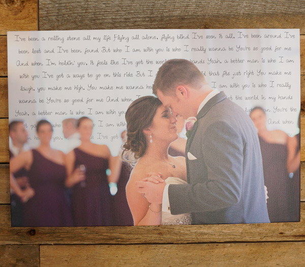 First Dance Song Lyrics On Canvas With Wedding Picture