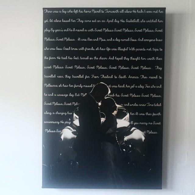 20x30 Song Lyrics Wedding Photo On Canvas